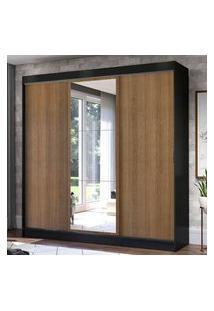 Guarda-Roupa Casal Madesa Istambul 3 Portas De Correr Com Espelho 3 Gavetas - Preto/Rustic Preto