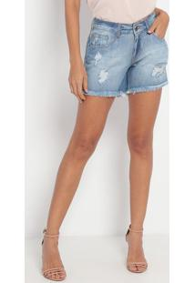 Short Jeans Com Destroyed - Azul Claro- My Favorite My Favorite Things