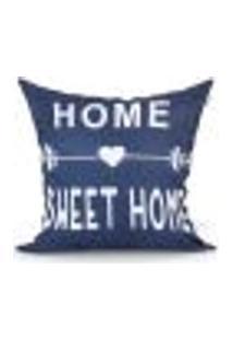 Capa De Almofada Frase Home Sweet Home Azul 45Cm X 45Cm Com Zíper