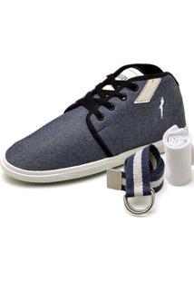 Sapatênis Polo Blu Kit Cinto E Meia Casual Jeans