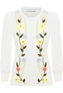 Blusa Feminina Tricot Bordado - Off White