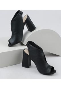 Sandal Boot Feminina Via Uno Salto Alto Grosso Preta