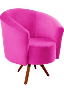 Poltrona Decorativa Angel Suede Pink Com Base Giratória Madeira - D'Rossi