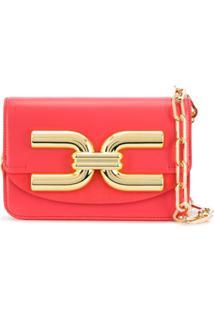 Elisabetta Franchi Bolsa Tiracolo Dourada Com Logo Frontal - Rosa
