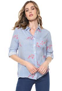 Camisa Facinelli By Mooncity Listrada Cerejeira Azul/Branca