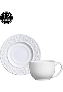 Jogo De Xícaras De Chá 12 Pçs Branco Porto Brasil