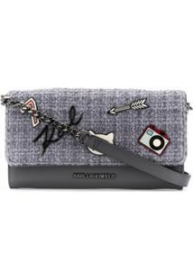 Karl Lagerfeld Bolsa Transversal Klassik Com Pins - Cinza