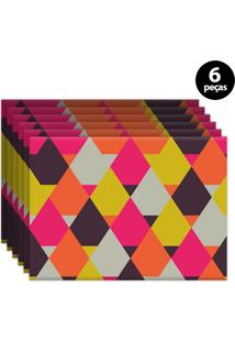Kit 6Pçs Jogo Americano Mdecor Abstrato 40X28Cm Rosa