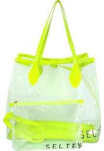 Bolsa Transparente Neon Verde Com Necessaire Selten