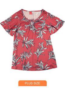 Blusa Vermelho Folhagens Com Amarração Frontal