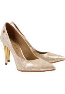 Scarpin Lança Perfume Clássico Feminino - Feminino-Dourado