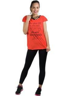 Camiseta Banna Hanna Recorte Frontal Com Silk Feminina - Feminino-Laranja