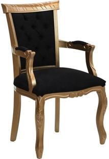 Poltrona Luis Xv Reto Entalhada - Dourado Com Preto - Tommy Design