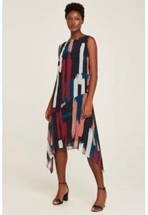 Vestido Midi Assimétrico Feminino - Feminino-Azul+Vermelho