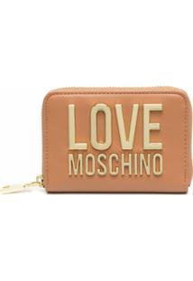 Love Moschino Porta-Moedas Com Logo Dourado - Marrom