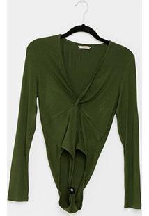 Body Colcci Canelado Decote - Feminino-Verde