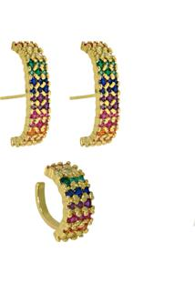 Conjunto De Brincos Infine Ear Hook E Piercing Falso Rainbow Colorido