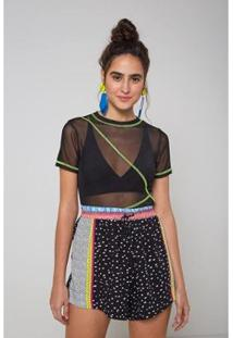 Blusa Oh, Boy! Tule Costuras Neon Feminina - Feminino-Preto