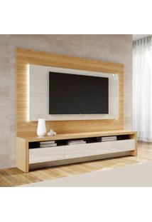 Rack Com Painel Para Tv 60 Polegadas Colônia Rovere E Off White 217 Cm
