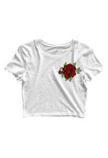 Blusa Blusinha Cropped Tshirt Camiseta Feminina Rosa Vermelha Mini Branco