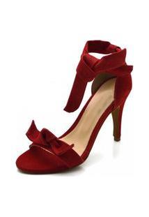 Sandália Salto Fino Flor Da Pele Vermelho
