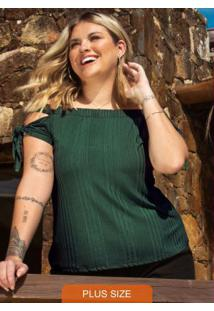 Blusa Feminina Plus Size Ciganinha Verde