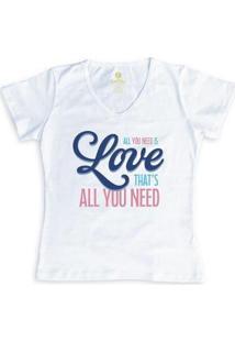 Camiseta Gola V Cool Tees All You Need Feminina - Feminino-Branco