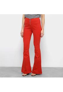Calça Flare Morena Rosa Cintura Alta Feminina - Feminino-Vermelho