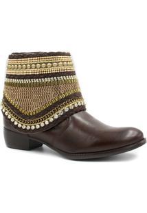 Bota Cano Curto Zariff Shoes Ankle Boot Zíper Feminina - Feminino-Marrom