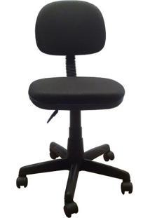 Cadeira Secretária Giratória Em Tecido Com Base Preta Plaxmetal - Preto