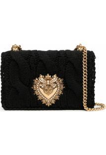 Dolce & Gabbana Bolsa Transversal Devotion Tricô - Preto