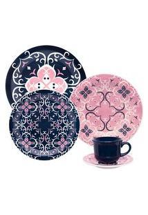 Aparelho De Jantar E Chá Oxford Cerâmica 30 Peças Floreal Hana