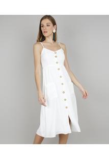 bfe0b70e3c00 R$ 129,99. CEA Vestido Off White Midi Alças Curto Alça Fina Branco  Poliester Viscose Com Bolso Praia Botões Feminino E