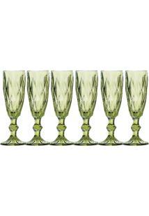 Jogo Com 6 Taças Para Champagne 140 Ml Hauskraft Verde