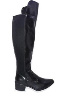 Bota Martinez Over The Knee Bico Fino Feminino - Feminino-Preto