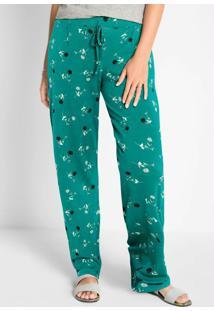 Calça Comfort Pantalona Floral Verde