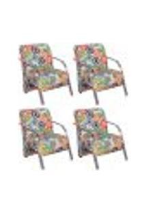 Conjunto De 4 Poltronas Sevilha Decorativa Braço Alumínio Cadeira Para Recepção, Sala Estar Tv Espera, Escritório - Poliéster Estampa Floral 070