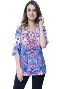 Blusa Estampada 101 Resort Wear Plus Étnico Azul