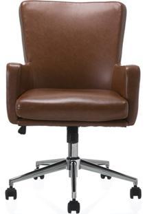Cadeira Em Poliuretano Com Braço Rebecca Rustic Cognac