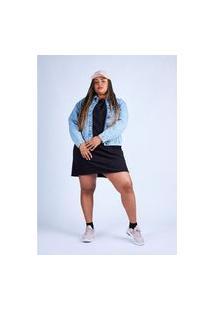 Vestido Básico Moletinho Preto Gang Plus Size Feminino