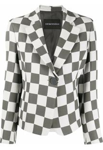Emporio Armani Checkered Print Notched Lapel Blazer - Branco