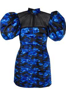 Richard Quinn Vestido De Festa Com Estampa Floral E Recorte Translúcido - Azul