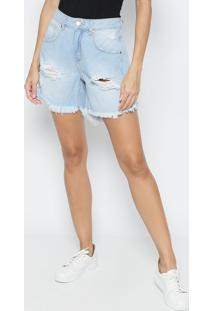 Bermuda Jeans Destroyed - Azul Claro - Sommersommer