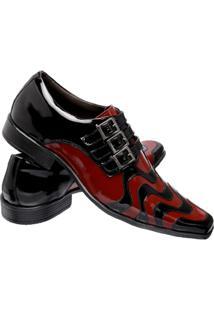 Sapato Social Gofer Copacabana Em Couro Legítimo Masculino - Masculino-Vermelho+Preto