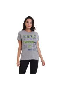 Camiseta Jay Jay Basica Gamer Label Cinza Mescla Dtg