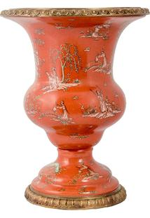 Vaso De Porcelana E Bronze - Linha Colonial