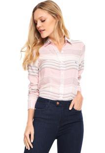 ... Camisa Polo Wear Reta Listrada Branca Rosa 630eeb77f8efe