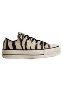 Tênis Converse All Star Chuck Animal Print Platform Lift Bege Preto Ct13620001