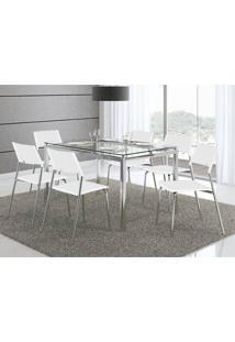 Mesa 346 Com Vidro Incolor Cromada Com 6 Cadeiras 1711 Branca Carraro