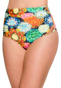 Calcinha Blue Horse Paola Hot Pants Retro Franzido Lycra Estampado Mandala Colorida